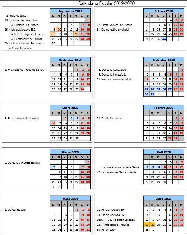 Calendario Escolar Andalucia 2020.Calendario Escolar Ceip Carlos I Dos Hermanas
