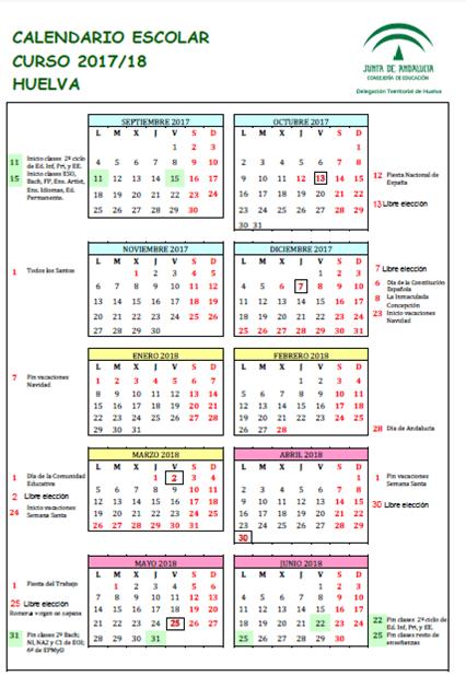 Calendario Escolar Huelva.Calendario Escolar C E I P Juan Ramon Jimenez Beas Huelva