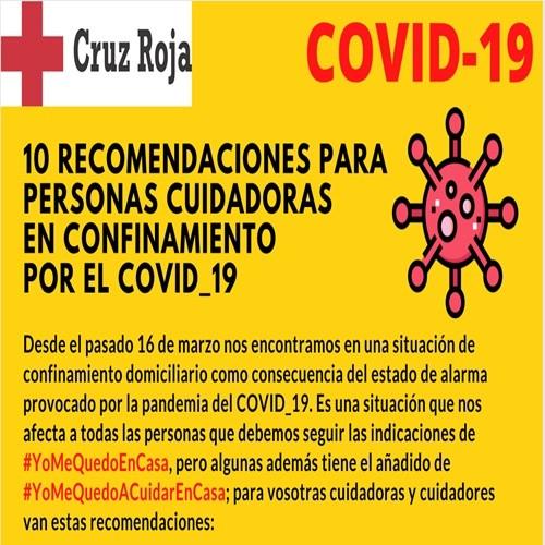 RECOMENDACIONES PARA PERSONAS CUIDADORAS EN  CONFINAMIENTO POR COVID-19