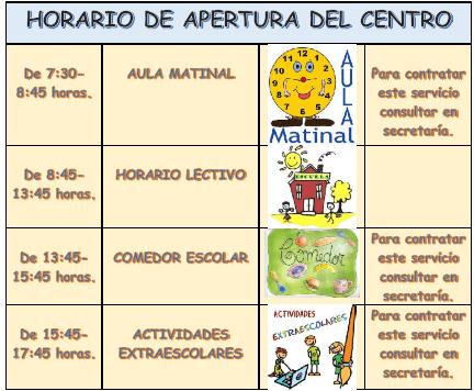 HORARIO DE APERTURA DEL CENTRO_001