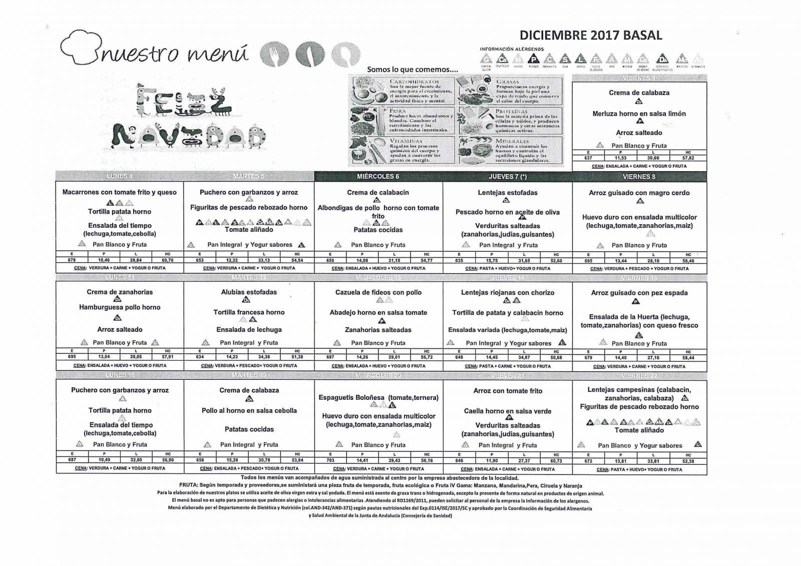 Menú del comedor escolar para diciembre | CEIP Ramón Hernández Martínez