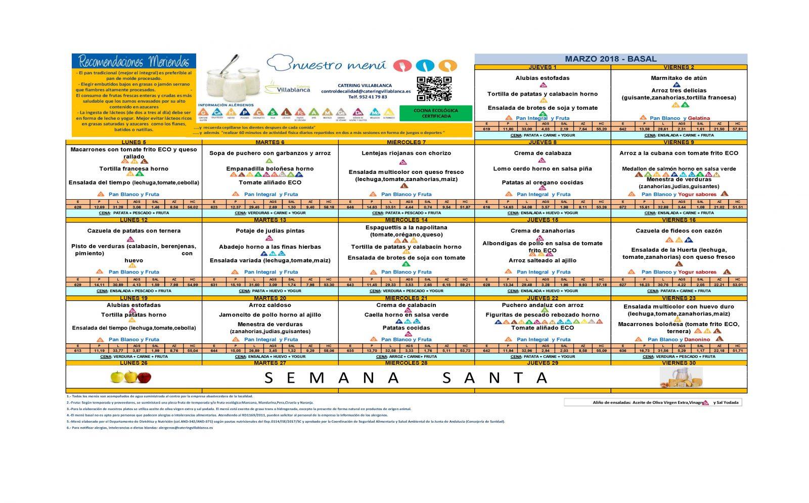 Menú del comedor escolar para marzo | CEIP Ramón Hernández Martínez