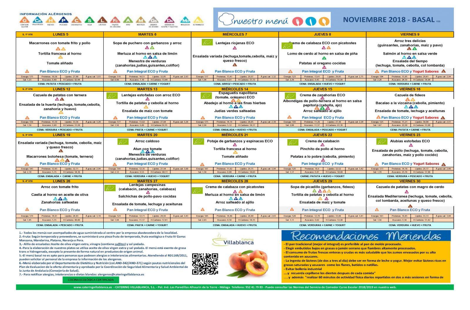 Menú del comedor escolar para noviembre | CEIP Ramón Hernández Martínez