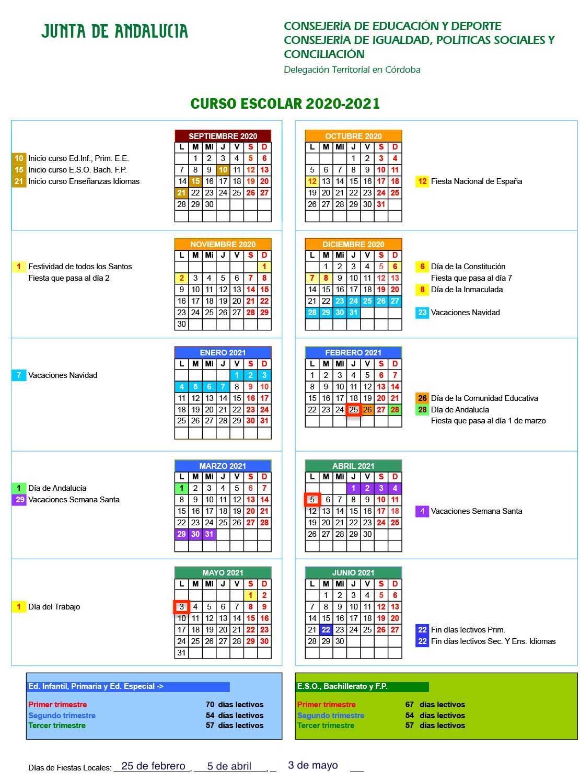 Calendario Escolar 20-21 con festivos locales
