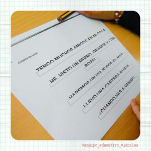 Texto para trabajar el cierre Actividad donde hay que completar la mitad inferior del texto que falta visual