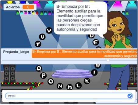 Entorno de trabajo Scratch. Podemos observar el texto de dos preguntas tal y como aparece en pantalla una vez verbalizada por la conductora del programa, el cuadro de edición donde debemos introducir nuestra respuesta, el número de aciertos, etc.