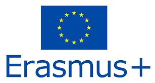 Logo oficial del programa Erasmus + Bandera azul con las estrellas amarillas y debajo en letras azules Erasmus +