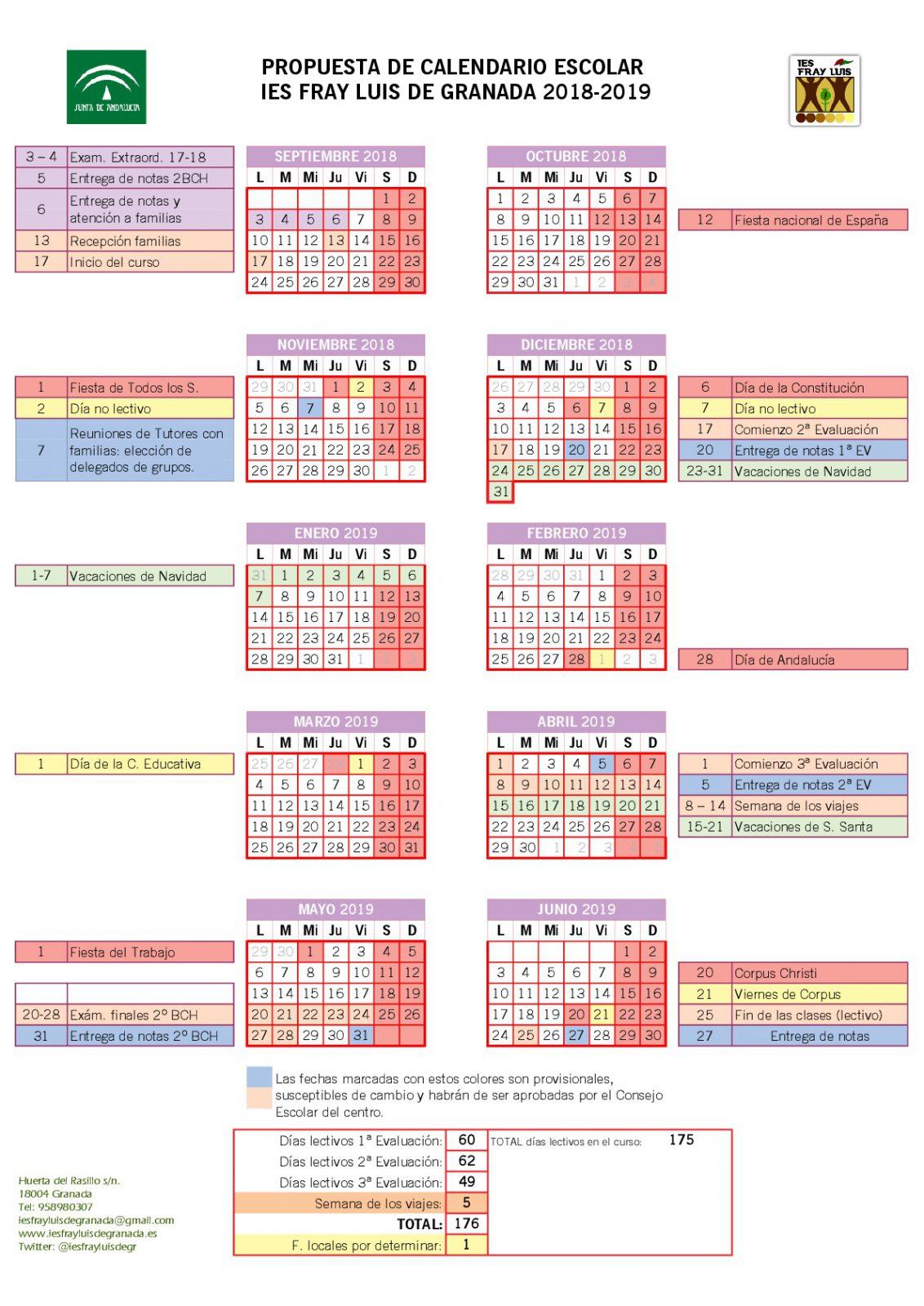Calendario Escolar 2020 Las Palmas.Calendario Escolar 2020 2020 Granada