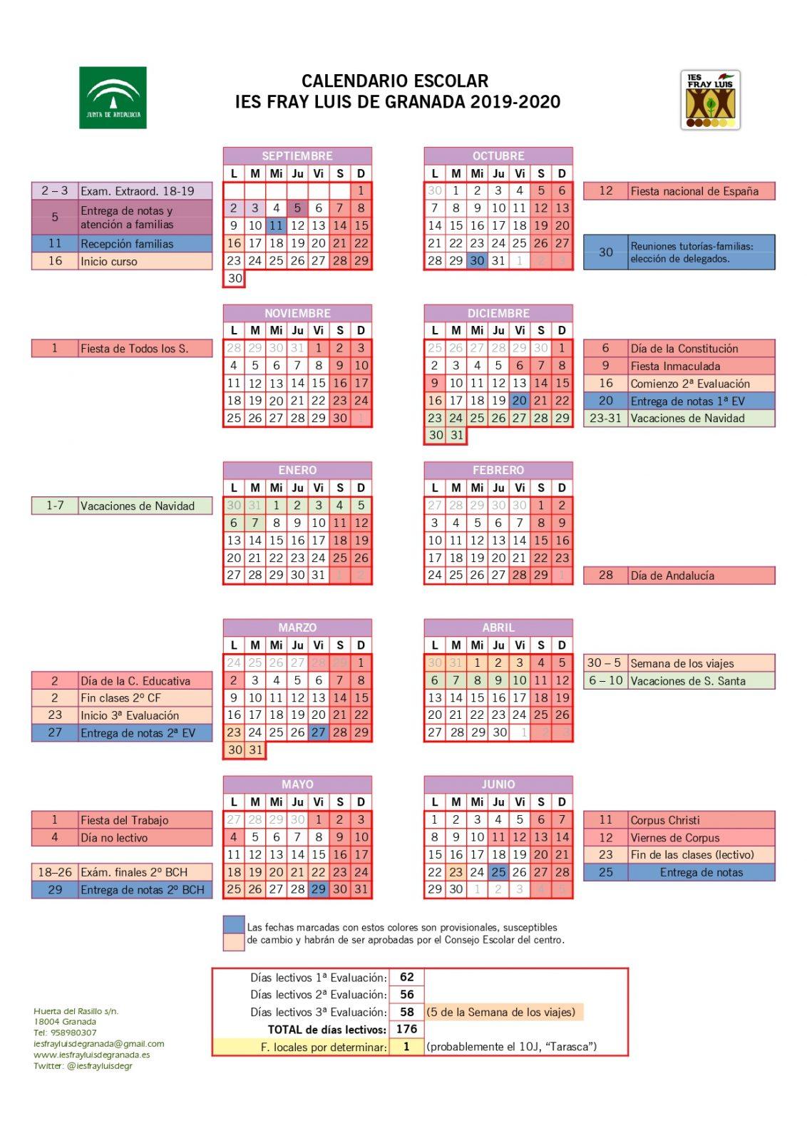 Calendario Escolar 2020 Andalucia.Calendario Escolar Ies Fray Luis De Granada
