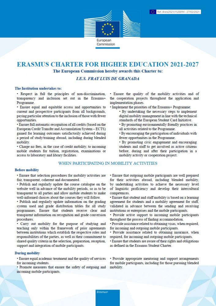 Erasmus Charter for Higher Education 2021-27