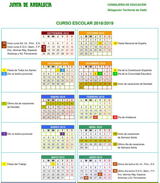 Calendario escolar de la provincia de Cádiz 2018/19