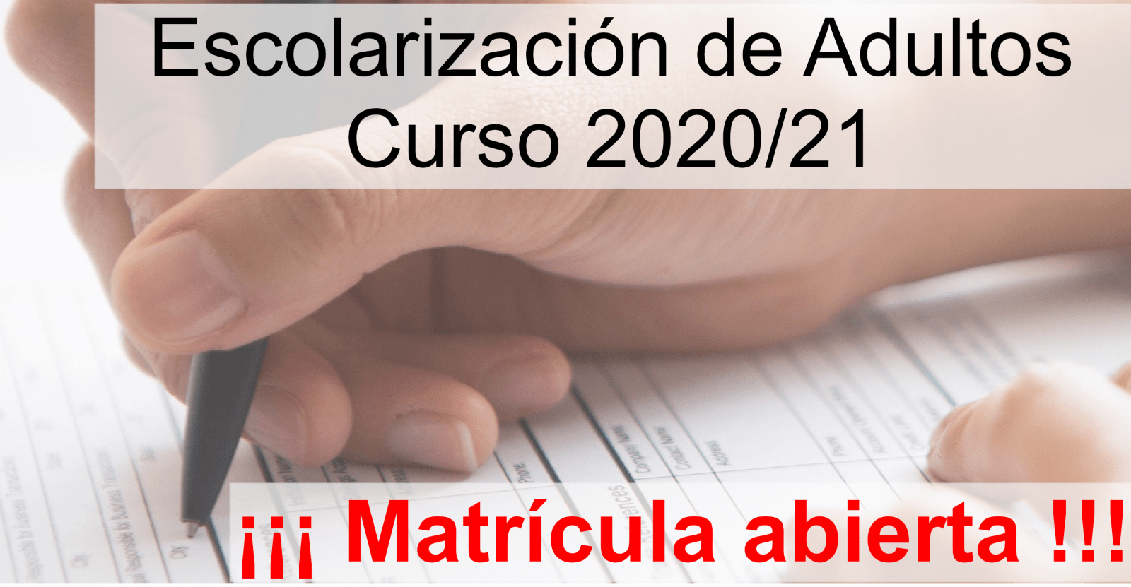 Escolarización de Adultos 2020/21