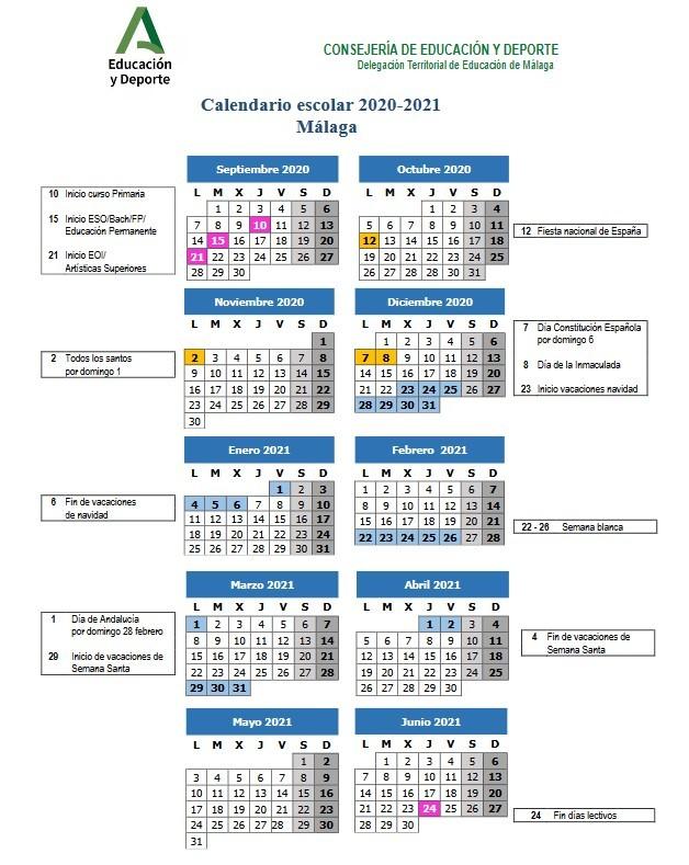 Calendario Curso 2020/21