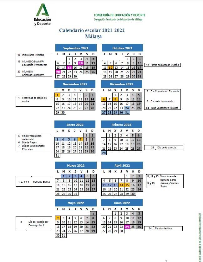 Calendario Curso 2021/22