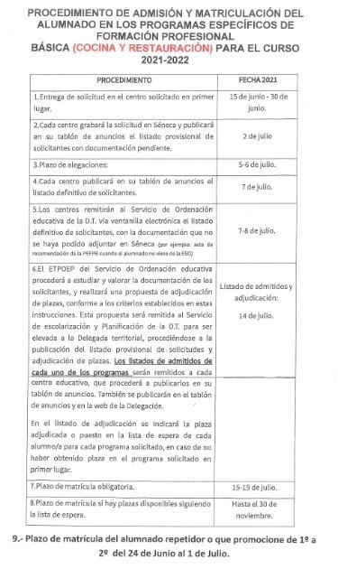 Admisión y Matriculación PEFPB (Cocina y Restauración)
