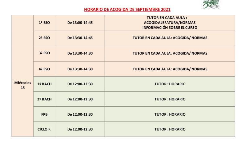 INICIO CURSO 21/22. HORARIO DE ACOGIDA MIÉRCOLES 15 DE SEPTIEMBRE