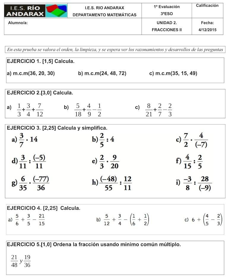 Examen De Fracciones Resuelto ツ Matemáticas En Un Clic