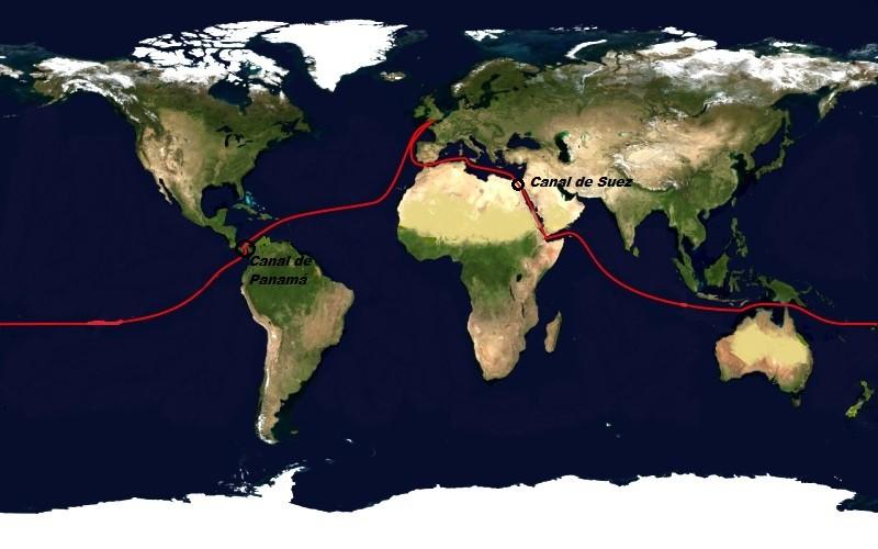 Ubicación de los Canales de Suez y Panamá y ejemplo de rutas marítimas de circunnavegación desde Londres