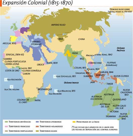 Expansión colonial europea por África, Asia y Oceanía (1815-1870)