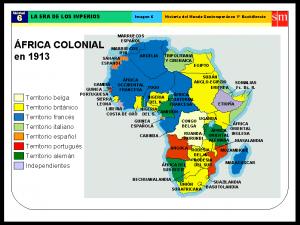 Mapa del reparto colonial de África por las potencias europeas de la editorial SM