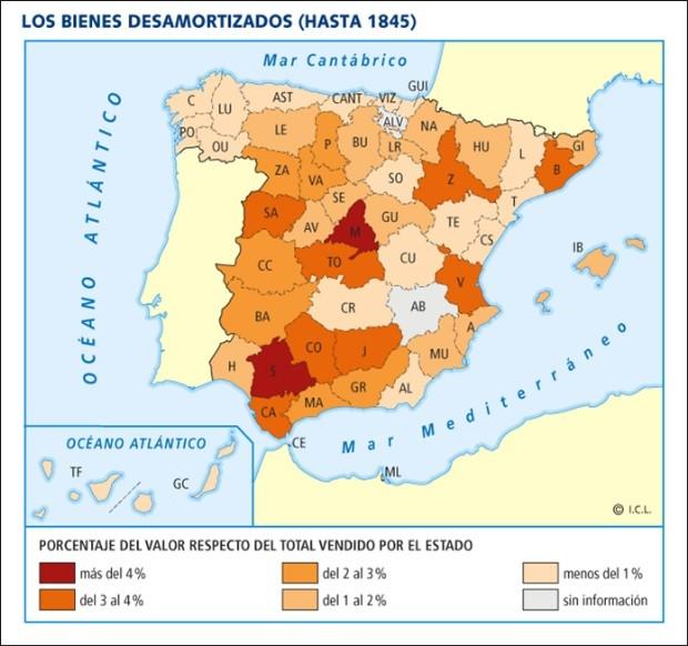 Bienes desamortizados hasta 1845 por provincias