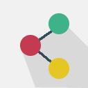 Dibujo de tres círculos unidos por una recta